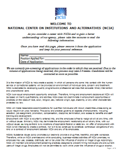 ncia job application